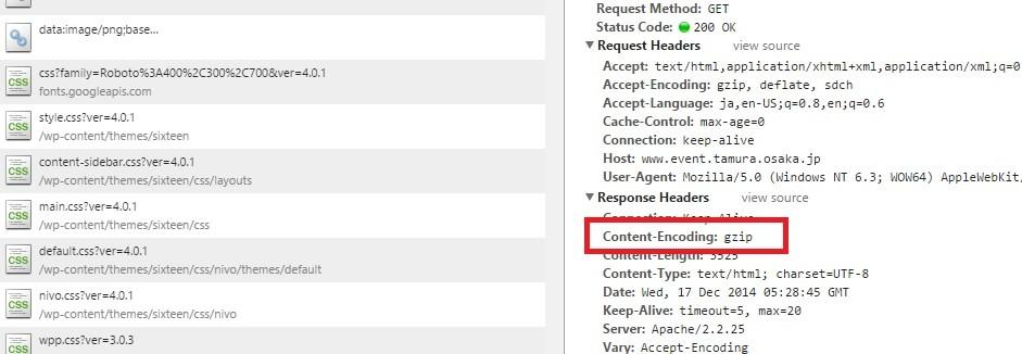 Chrome developer tool の結果