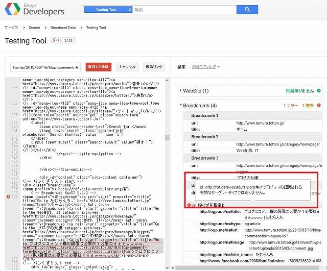 構造化データテストツール エラー
