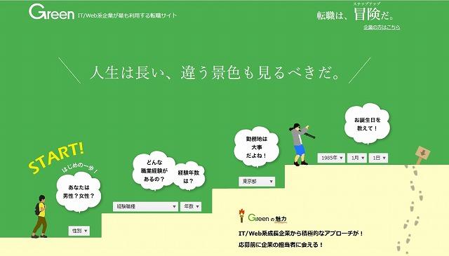 IT/Web業界の求人・採用情報に強い転職サイト「Green」