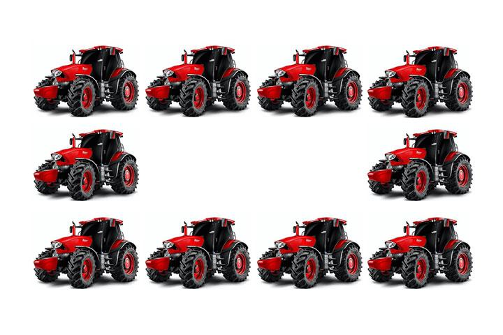 赤いトラクター10台