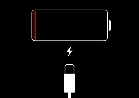 iPhone5の充電がない状態の雷マーク